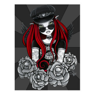 Harley Red Tattoo Biker Rose Angel Postcard