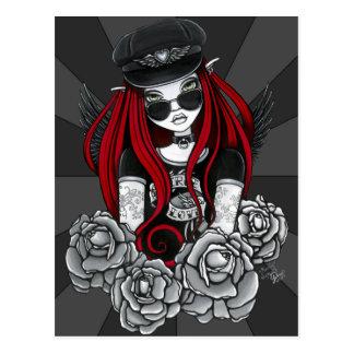 Harley Red Tattoo Biker Rose Angel Postcard