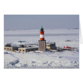 Harmaja Lighthouse In Ice Helsinki Finland Card