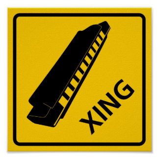 Harmonica Crossing Highway Sign Poster