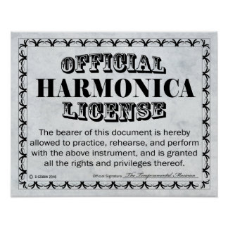 Harmonica License Poster