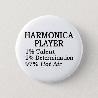 Harmonica Player Hot Air 6 Cm Round Badge