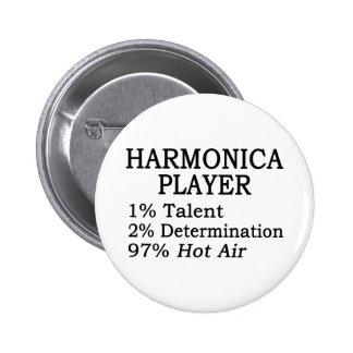 Harmonica Player Hot Air 6 Cm Round Badge