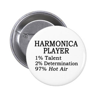 Harmonica Player Hot Air Pinback Button