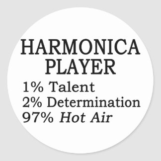 Harmonica Player Hot Air Classic Round Sticker