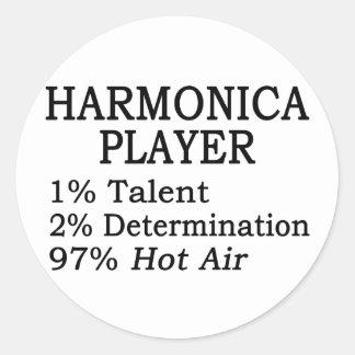 Harmonica Player Hot Air Round Sticker