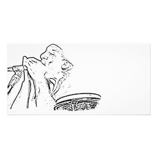 Harmonica Player with drum outline Customised Photo Card