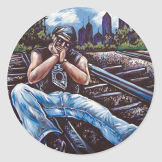 HARMONICA RAILROAD CLASSIC ROUND STICKER