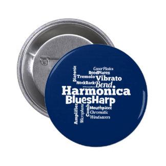 Harmonica Word Cloud 6 Cm Round Badge