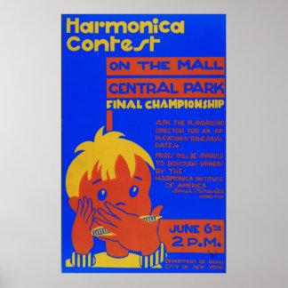 Harmonika Central Park Vintage WPA 1937 Poster
