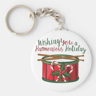 Harmonious Holid Basic Round Button Key Ring