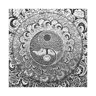 Harmony and Balance Silver Yin Yang Gallery Wrapped Canvas