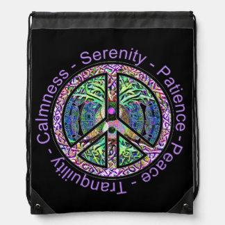 Harmony, Balance, Oneness Peace Symbol Drawstring Bag