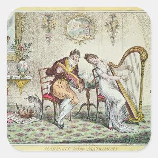 Harmony before Matrimony, 1805 Square Sticker