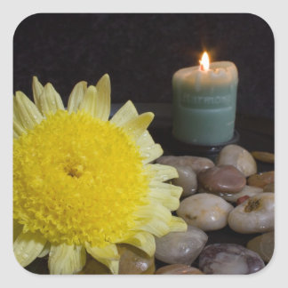 Harmony Candle and Yellow Flower Square Sticker