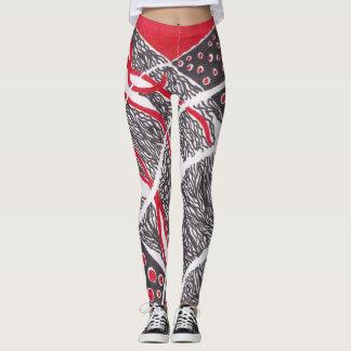 Harmony Red Black and White Leggings