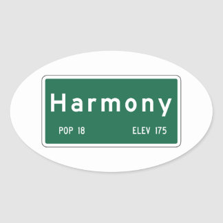 Harmony Road Marker California USA Oval Stickers
