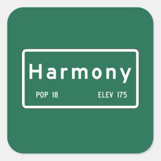 Harmony, Road Marker, California, USA Square Sticker