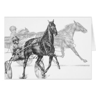 Harness Horse Racing Drawing by Kelli Swan Card