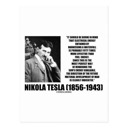 Harnessing A Waterfall Sun's Energy Tesla Quote Postcards