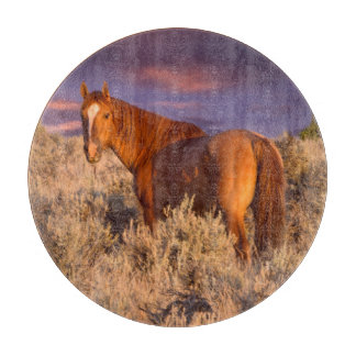 Harney County Wild horse stands alert Cutting Board