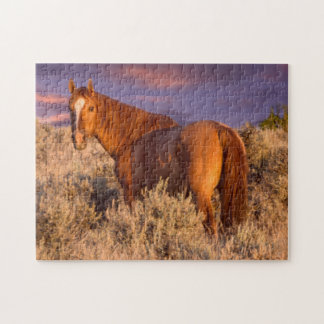 Harney County Wild horse stands alert Jigsaw Puzzle