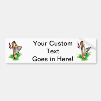 harp abstract with green.png bumper sticker