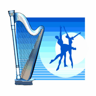 Harp and Dancers Blue Version Graphic Image Cut Outs