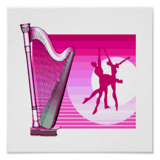 Harp and Dancers Pink Version Graphic Image Poster