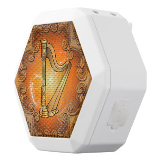 Harp in gold with elegant damasks white boombot rex bluetooth speaker