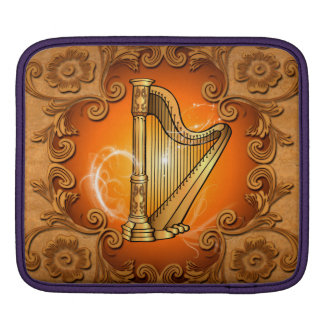 Harp in gold with elegant damasks sleeve for iPads