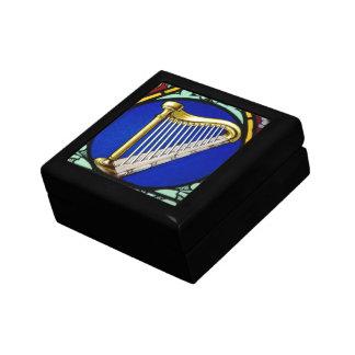Harp in Stain Glass Box Small Square Gift Box