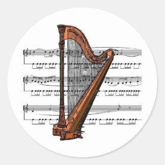 Harp musical 02 B Classic Round Sticker