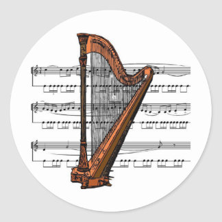 Harp musical 02 B Round Sticker