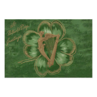 Harp of Erin Four Leaf Clover Green Photo Art