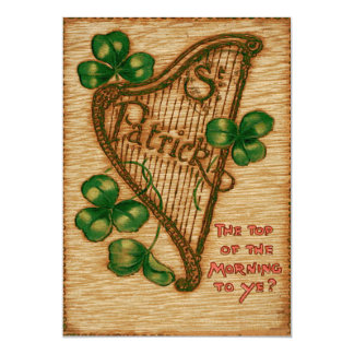 Harp of Erin Shamrock Top of The Morning 13 Cm X 18 Cm Invitation Card