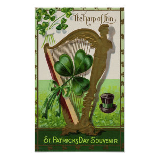 Harp of Erin Vintage St. Patrick's Day Poster