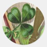 Harp of Erin Vintage St. Patrick's Day Round Stickers