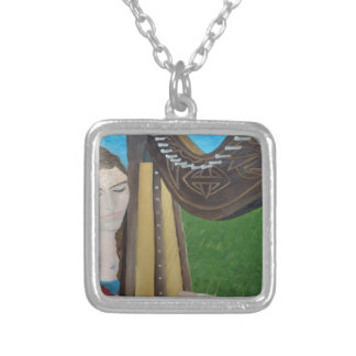 Harp Player by KatGibsonArt- for all music lovers! Silver Plated Necklace