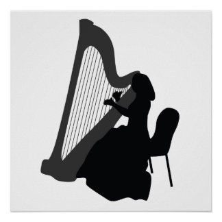 Harp Player Poster