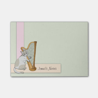 Harp-playing Calico Kitten Post-it Notes