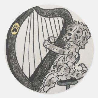 Harp puppy classic round sticker