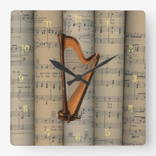 Harp ~ Rolled Sheet Music Background ~ Musical