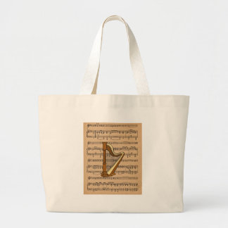 Harp With Sheet Music Background Large Tote Bag