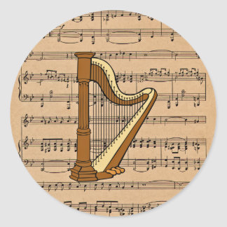 Harp With Sheet Music Background Round Sticker