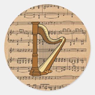 Harp With Sheet Music Background Round Sticker