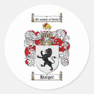 HARPER FAMILY CREST -  HARPER COAT OF ARMS STICKERS