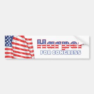 Harper for Congress Patriotic American Flag Bumper Sticker