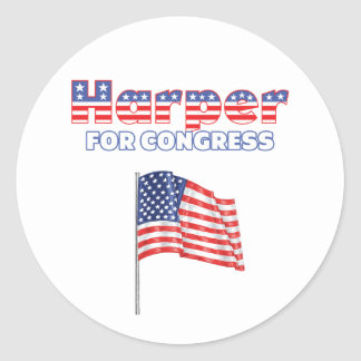 Harper for Congress Patriotic American Flag Round Stickers