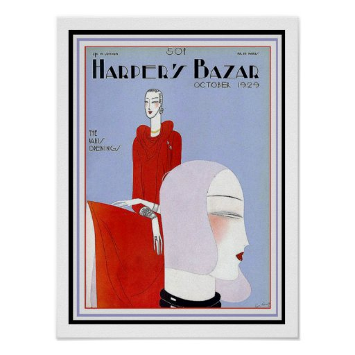 Harper's Bazar Art Deco Cover Poster 12 x